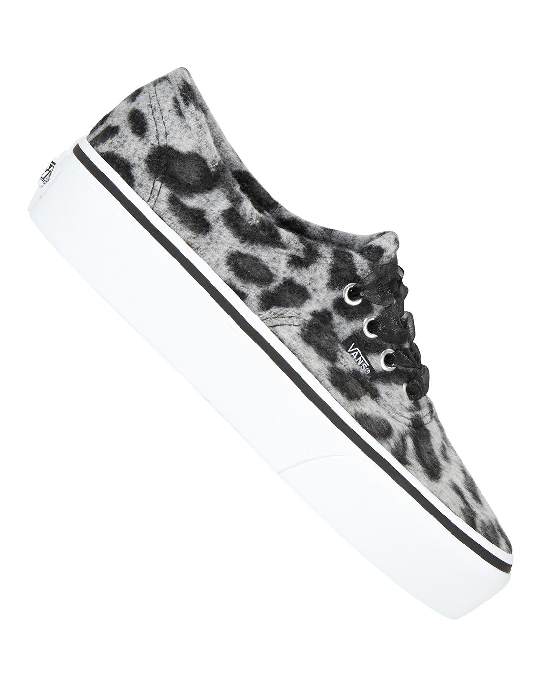 363649235b0dfc Women s Grey Leopard Print Platform Vans