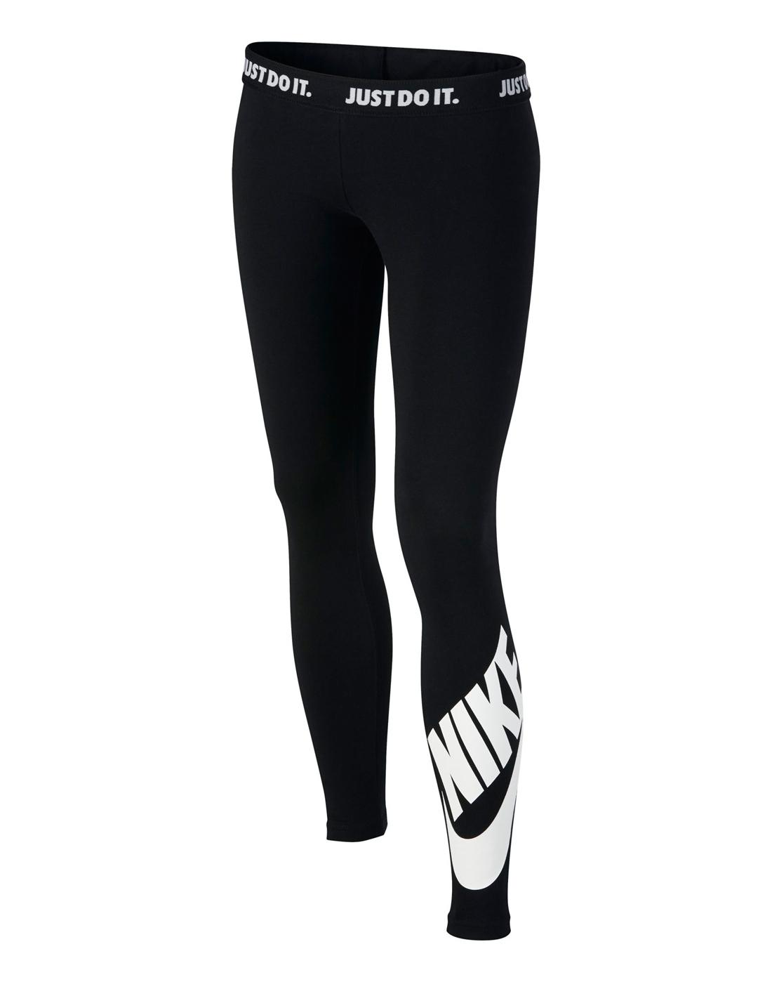 0161862c2d4c50 Nike Older Girls Logo Legging   Black   Life Style Sports