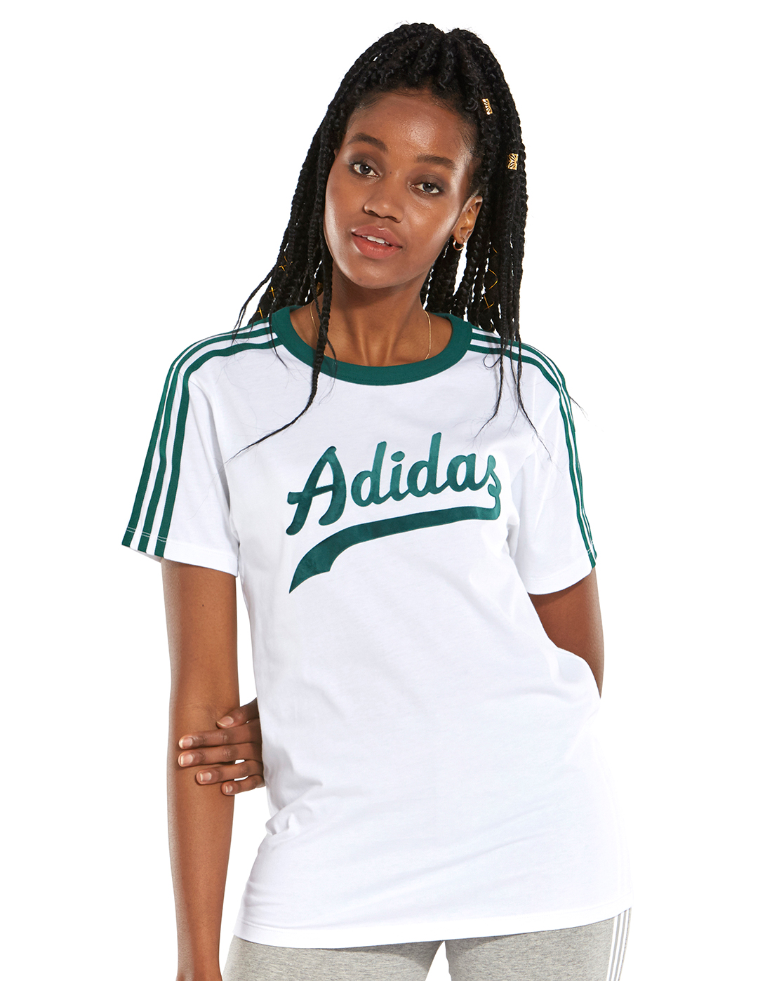 2f2a19d61fc6f Women's White & Green adidas Originals T-Shirt | Life Style Sports