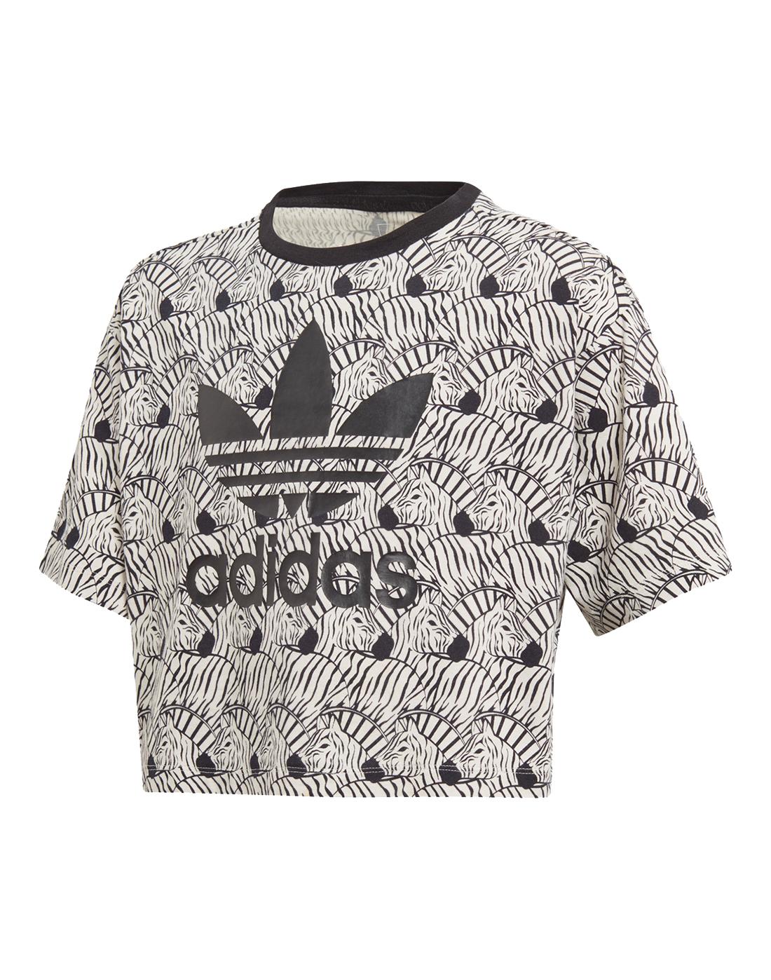 Girl s adidas Originals Zebra Crop T-Shirt  6d623f7dee553