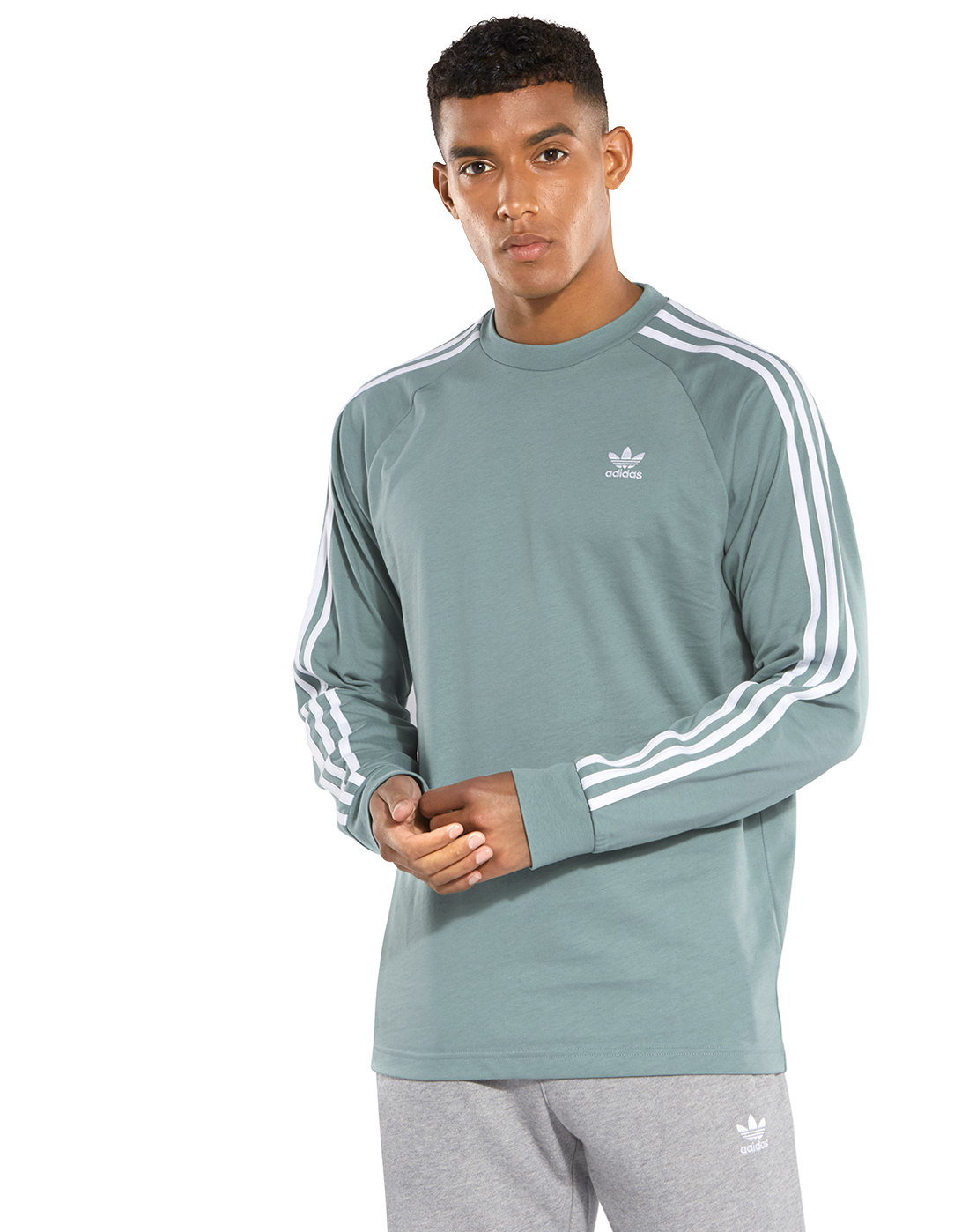 fd8f6a99bc Men's Green Long Sleeve adidas Originals T-Shirt | Life Style Sports