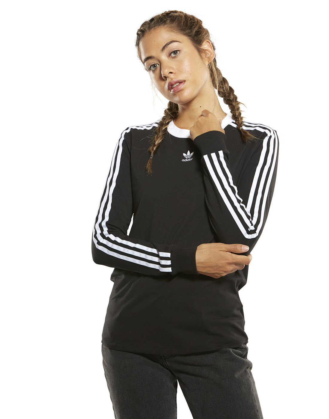 70f7530f433 adidas Originals Womens 3-Stripes Long Sleeve T-Shirt