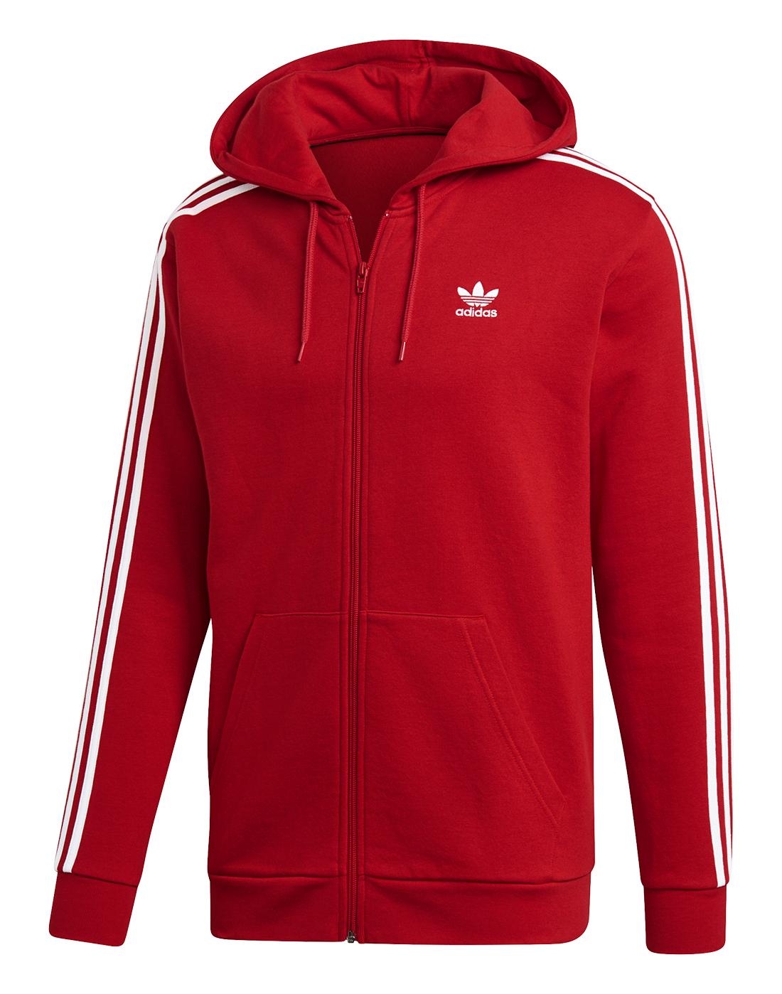spara av Los Angeles utsökt design Men's Red adidas Originals Logo Full Zip Hoodie | Life Style Sports