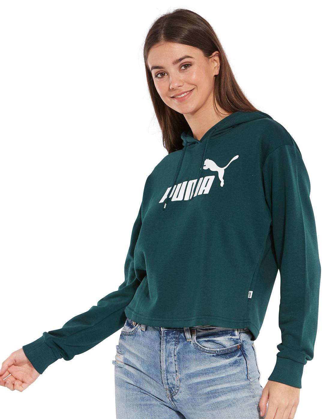 Hunter Green Peekaboo Crop Hoodie High Low Sweatshirt ...  Green Cropped Hoodie
