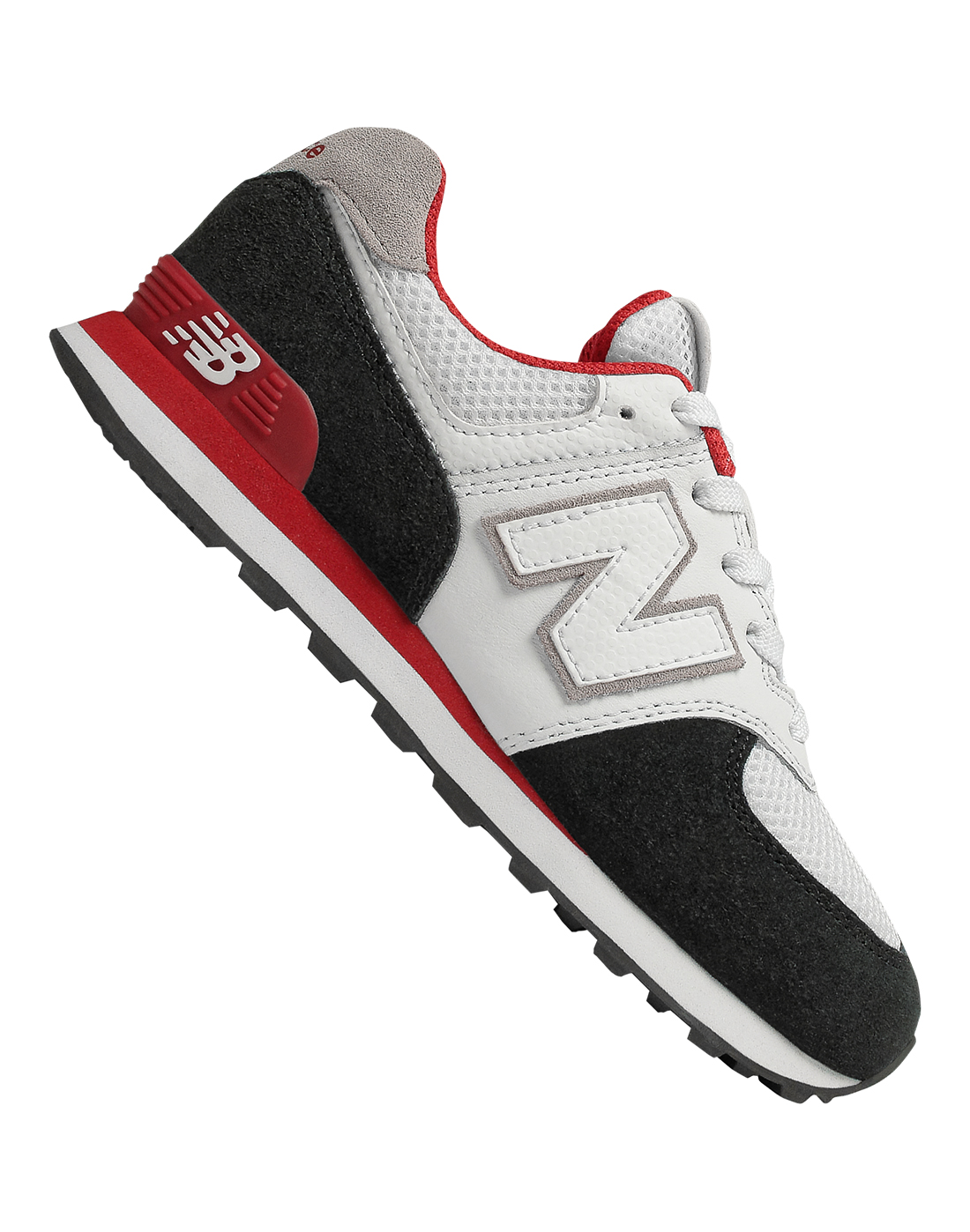 658367763 Girl's Black, White & Red New Balance 574 Trainers | Life Style Sports
