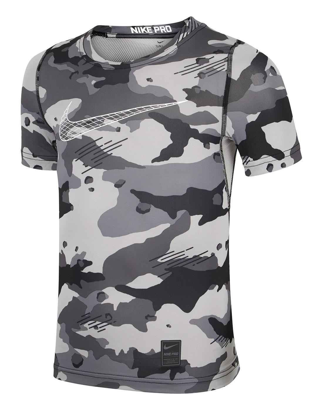 Boy s Grey Camo Nike Pro T-Shirt  65b40f00e
