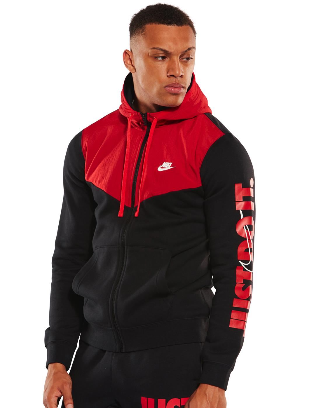 Men's Black & Red Nike Just Do It Full Zip Hoodie | Life ...