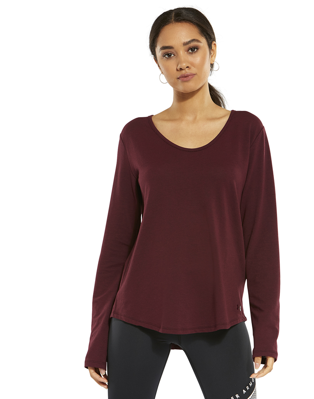 354102f0d12f Women's Burgundy Under Armour Open Back T-Shirt | Life Style Sports