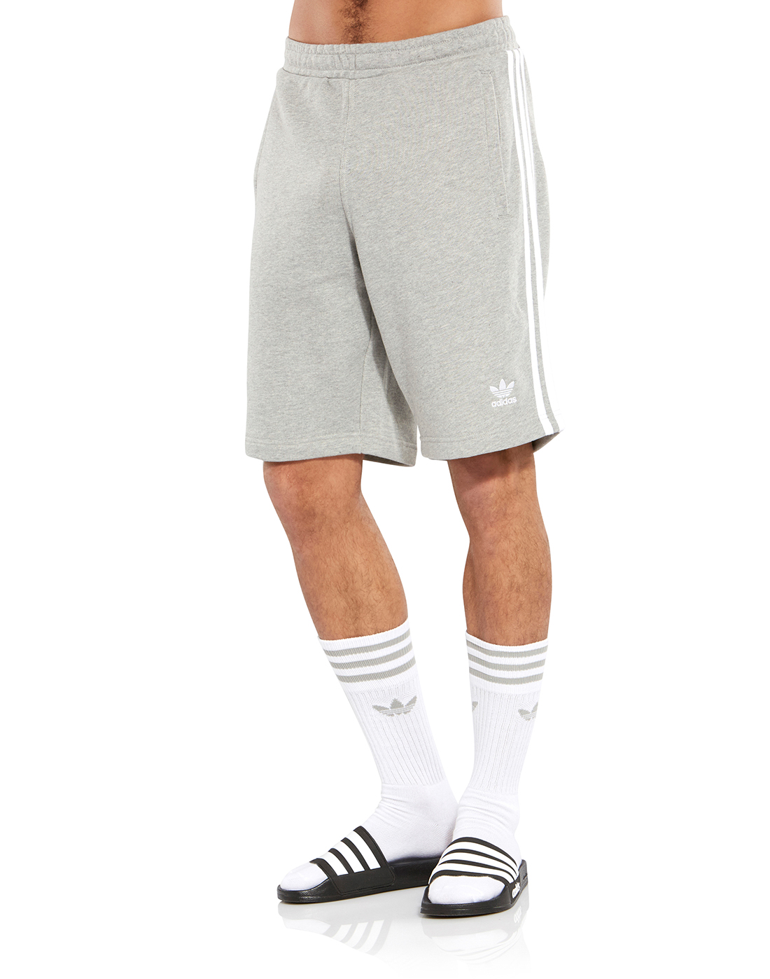 d945e900 Men's Grey adidas Originals 3-Stripe Shorts   Life Style Sports