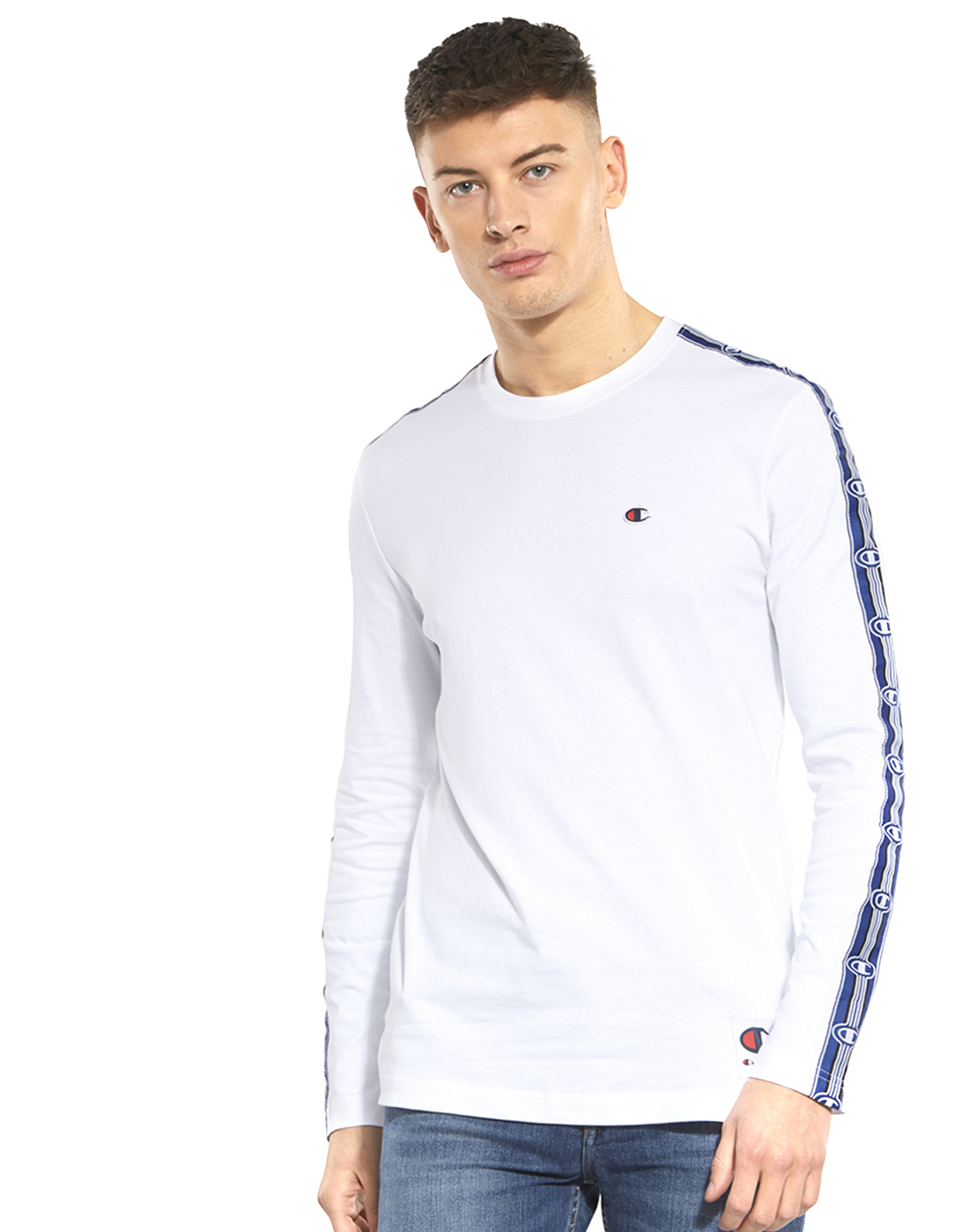 a0cfd917 Men's White Champion Tape Long Sleeve T-Shirt | Life Style Sports
