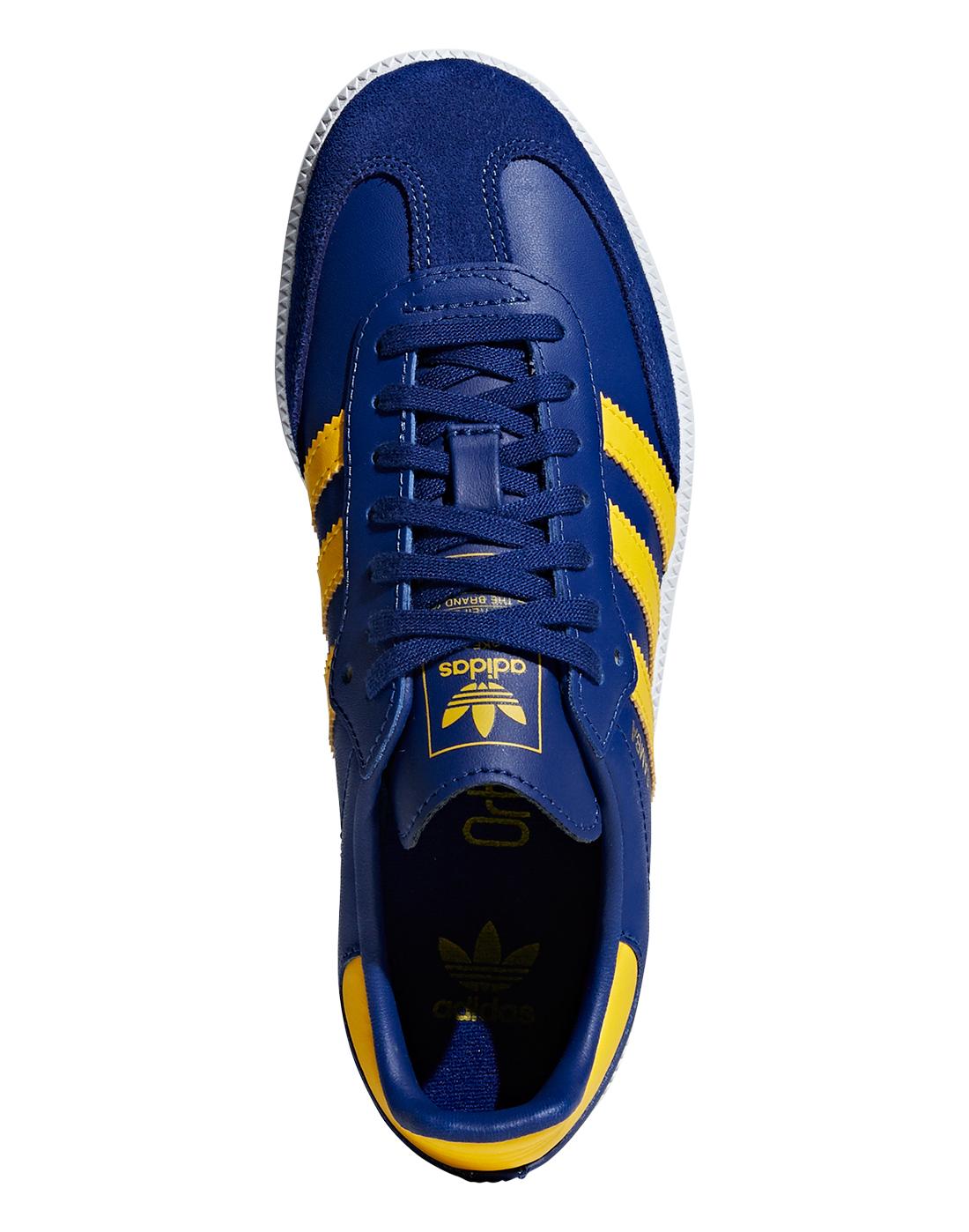 Kid s Blue   Yellow adidas Samba  e4ae88974