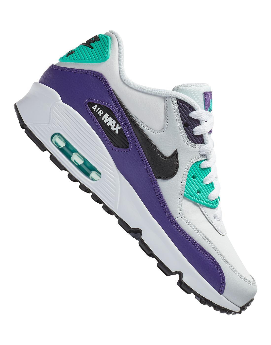 41f5a28899 Kid's White & Purple Nike Air Max 90 | Life Style Sports