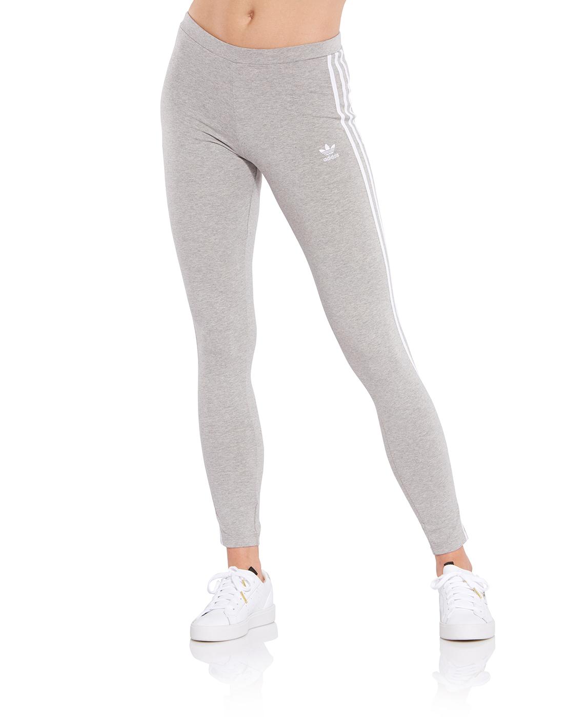 713515a4b9 Women's Grey adidas Originals 3 Stripe Leggings | Life Style Sports