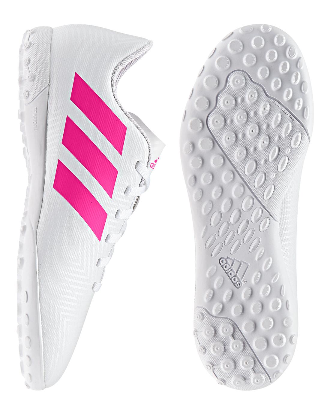Kid's White \u0026 Pink adidas Nemeziz Astro