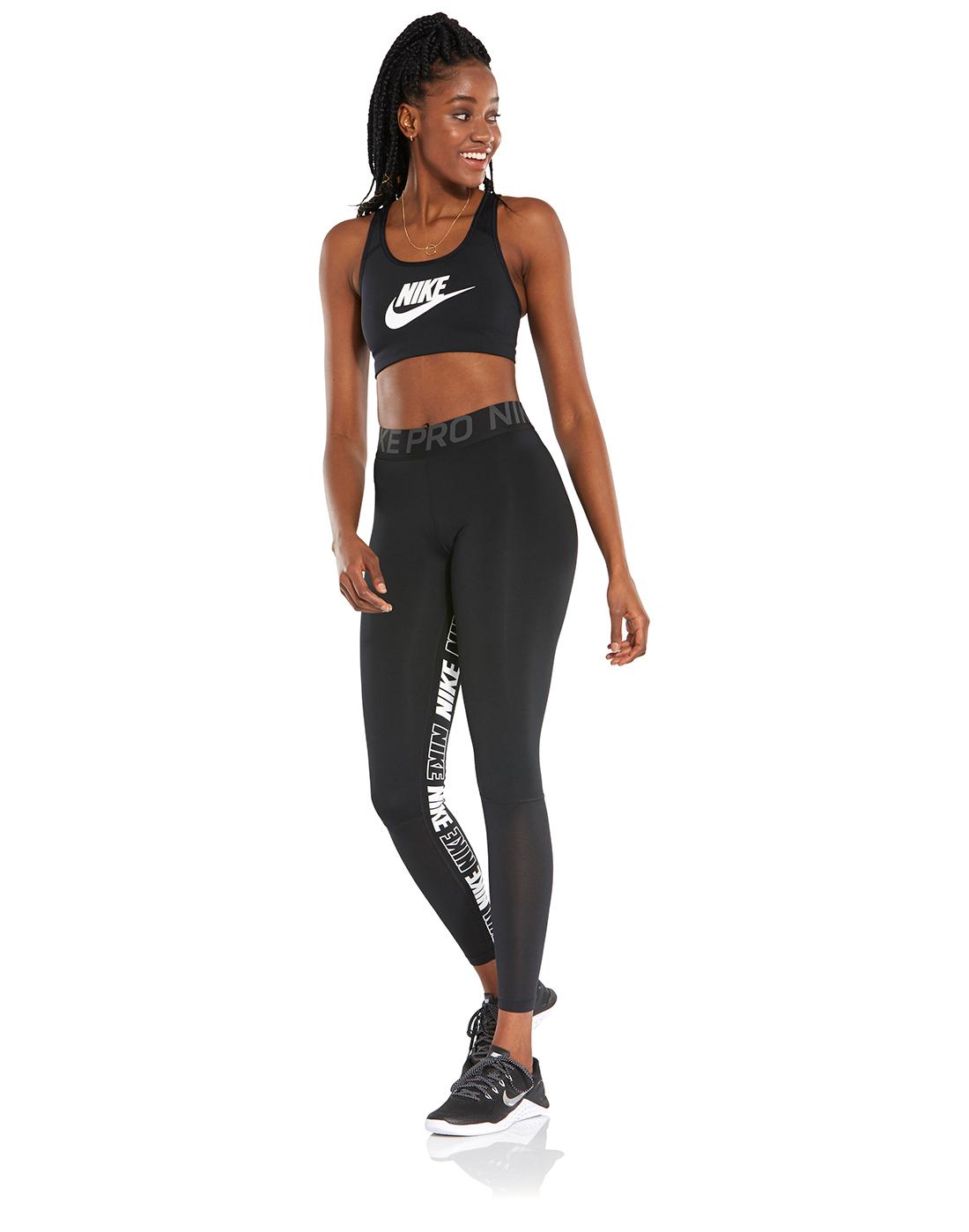 7f03e12cabc574 Women's Black Nike Gym Distort Tights | Life Style Sports