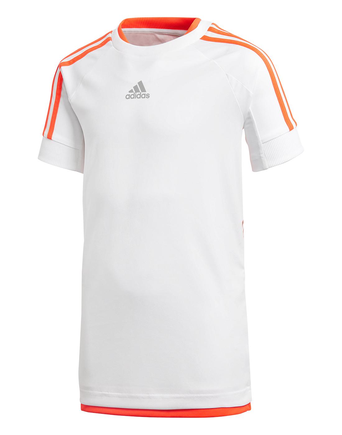 8fe3c5cea580 Kid's White & Orange adidas Predator T-Shirt | Life Style Sports