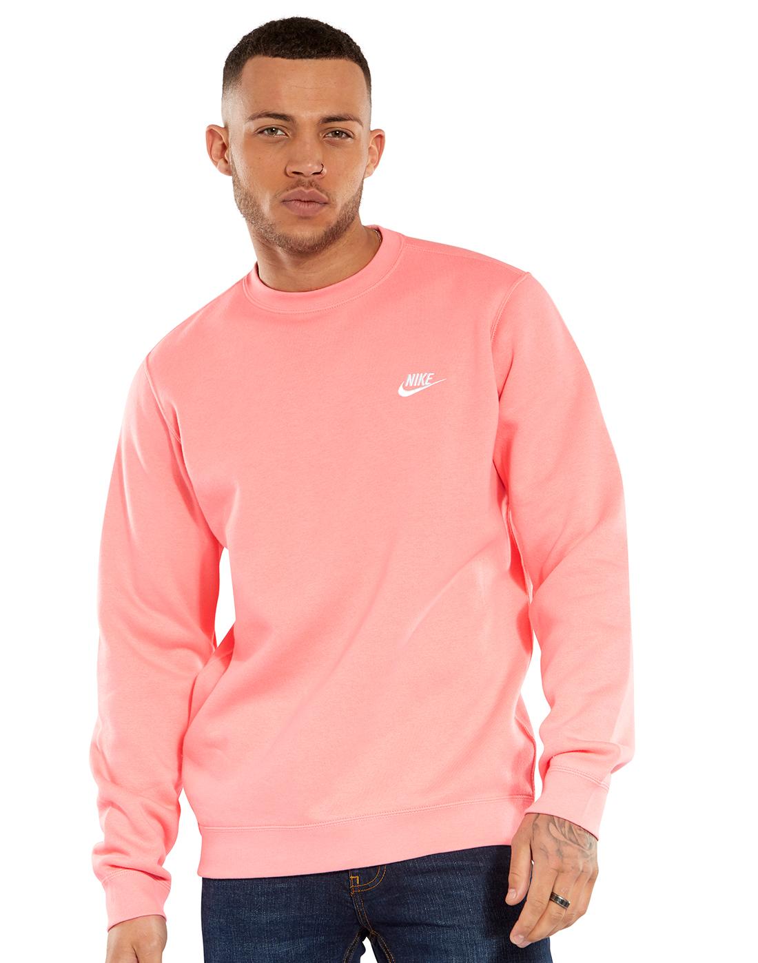 Continente Impotencia Cristo  Men's Pink Nike Crew Sweatshirt | Life Style Sports