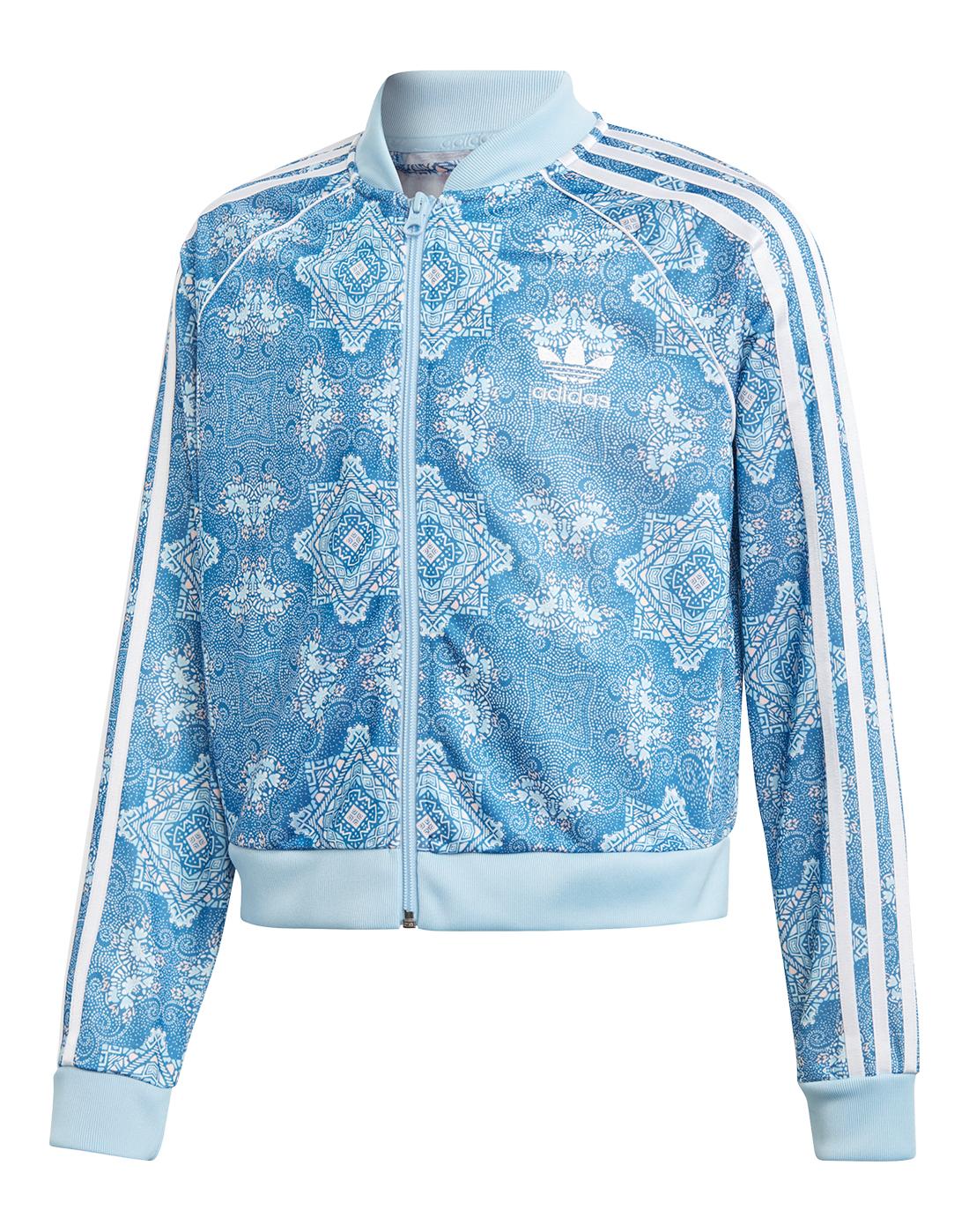 Girl s Blue adidas Originals Crop Track Top  798b2b9f19