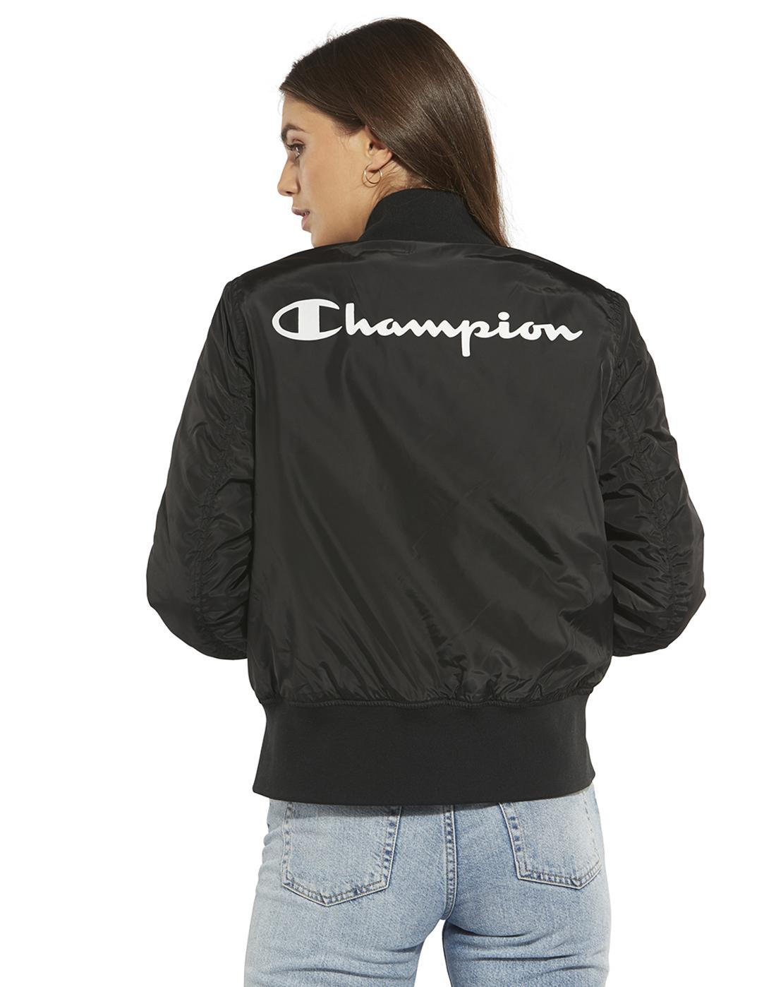 840f73924c83 Women's Black Champion Bomber Jacket   Life Style Sports