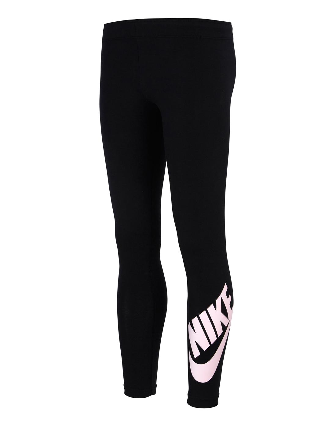 cc0cb5e47c8237 Older Girls Nike Logo Leggings   Black   Life Style Sports