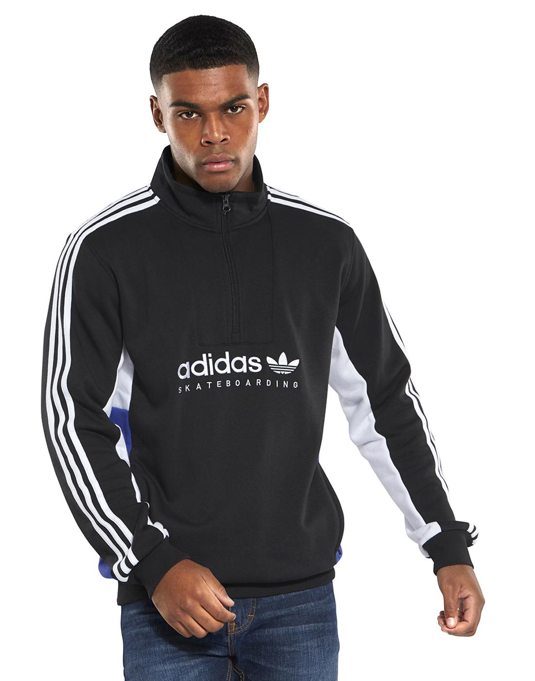 cc6c9aee678 Men s Black adidas Originals Apian Half Zip Top