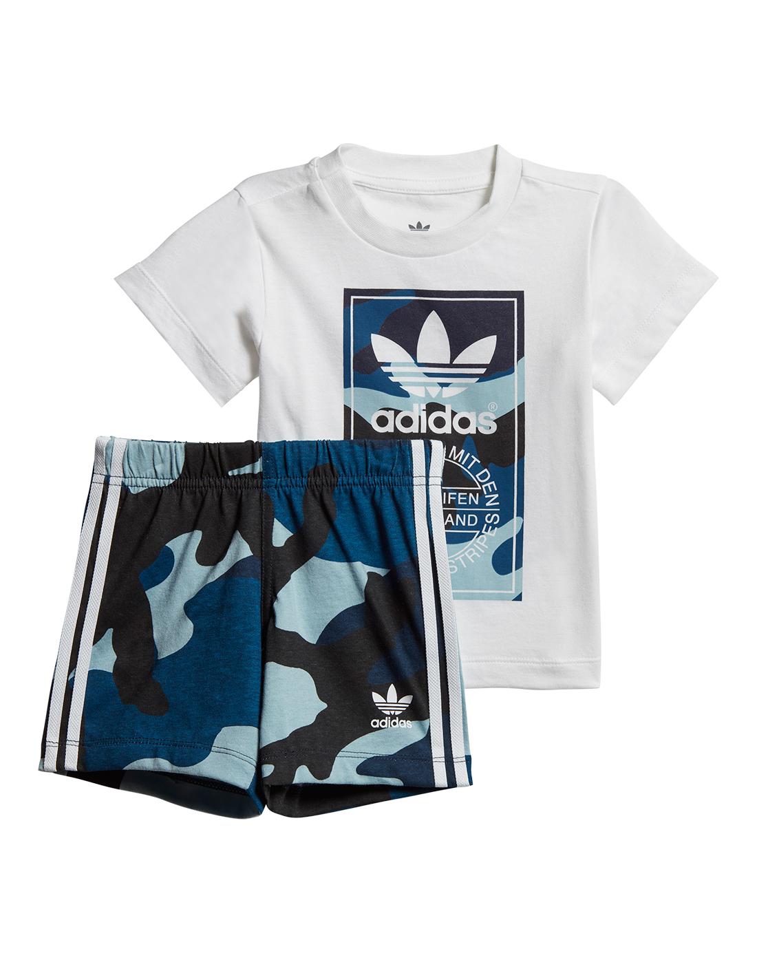 4cbb54c0 Infants Blue Camo adidas Originals T-Shirt & Shorts | Life Style Sports