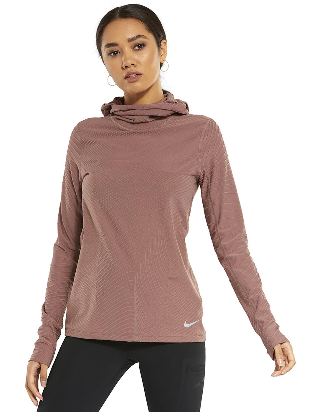 Women s Pink Nike Running Balaclava Hoodie  ee6998637