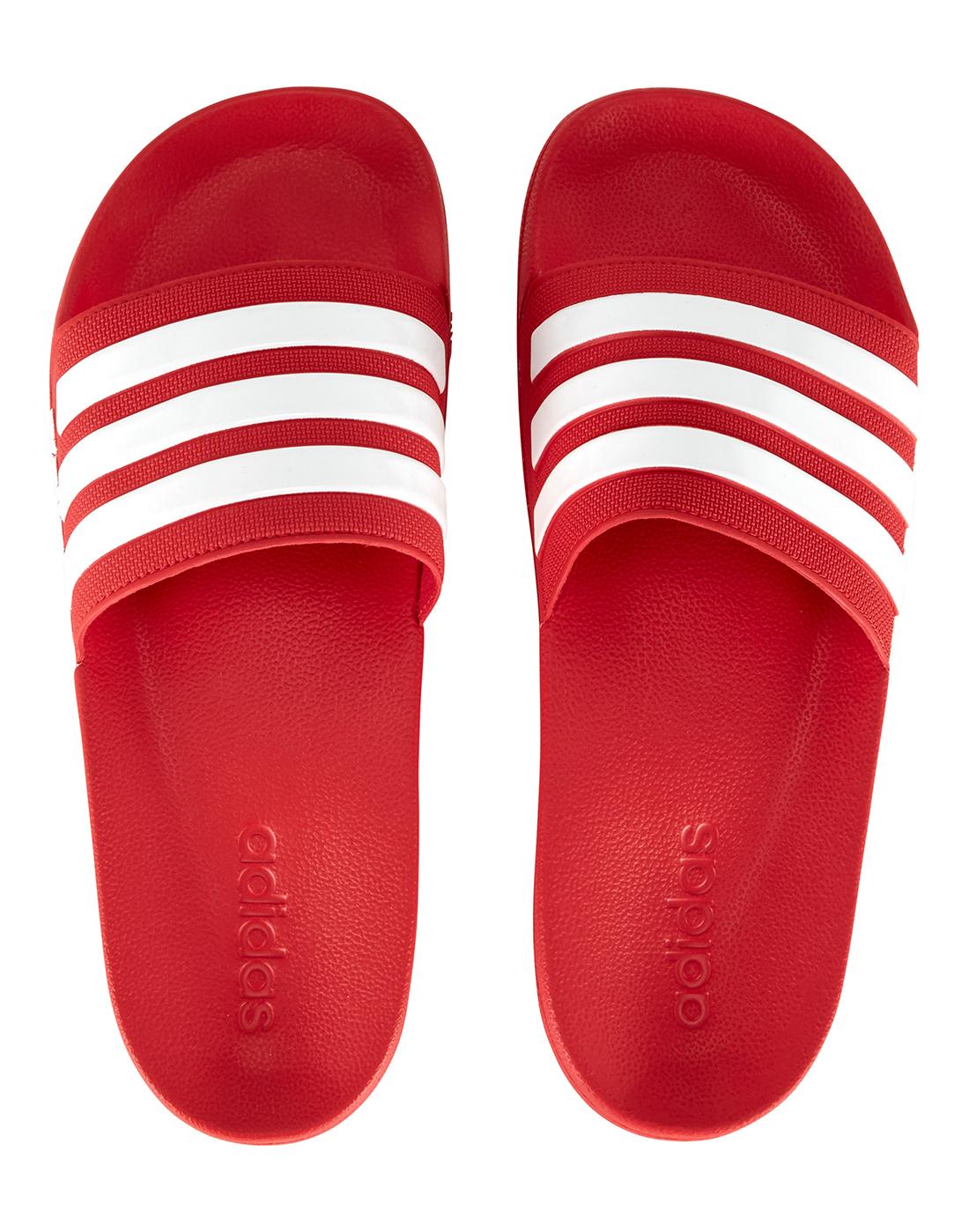 8848bdb2b43 Men s Red   White adidas Slides