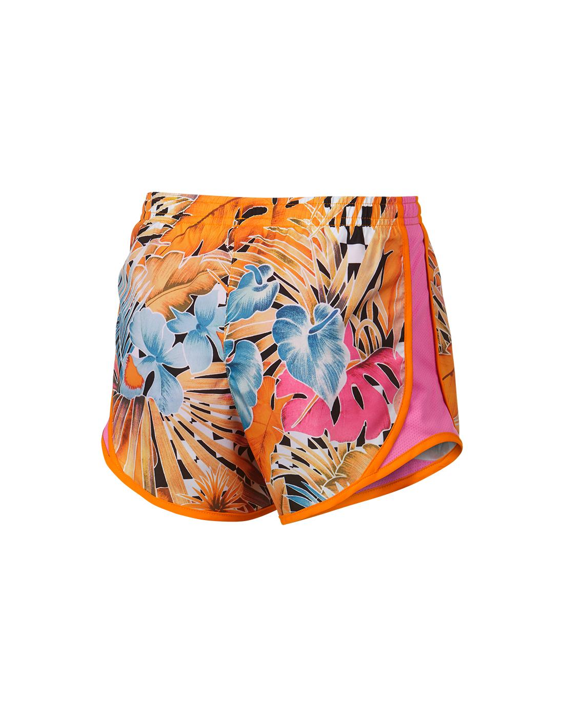 d3618f6e1465 Girl's Orange Floral Nike Tempo Shorts | Life Style Sports
